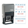 "Xstamper Self-Inked Stamp - Message/Date Stamp - ""PAID, FAXED, RECEIVED"" - 0.93"" Impression Width x 1.75"" Impression Length - Blue, Red - Plastic - 1 Each"