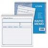 "TOPS Rapid Memo Book - Spiral Bound - 2 Part - Carbonless Copy - 7.75"" x 8.50"" Sheet Size - Assorted Sheet(s) - 1 Each"