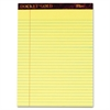 "TOPS Docket Gold Legal Pad - 50 Sheets - Printed - Double Stitched - 20 lb Basis Weight - Letter 8.50"" x 11"" - Canary Paper - 6 / Pack"