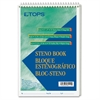 "TOPS Green Tint Steno Books - 70 Sheets - Printed - Wire Bound - 6"" x 9"" - Green Paper - Hardboard Cover - 1Each"