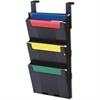 "Deflect-o Letter Hanging File System - 3 Pocket(s) - 25"" Height x 12.6"" Width x 3.9"" Depth - Wall Mountable - Black"