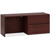 "HON 10700 Series Right Pedestal Credenza with Lateral File - 72"" x 24"" x 29.5"" - Single Pedestal on Right Side - Waterfall Edge - Material: Wood - Finish: Laminate, Mahogany"