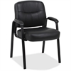 "Lorell Chadwick Executive Leather Guest Chair - Leather Black Seat - Steel Black Frame - Black - Steel, Leather - 26"" Width x 28"" Depth x 35"" Height"
