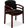 "HON Invitation 2112 Double Rail Arm Chair - Raven Seat - Wood Mahogany Frame - Four-legged Base - 20"" Seat Width x 17"" Seat Depth - 23.5"" Width x 22"" Depth x 33.1"" Height"