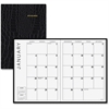 "At-A-Glance Designer Series 13-Months Appointment Book - Monthly - 1.1 Year - January till January - 1 Month Double Page Layout - 7"" x 10"" - Stapled - Black - Leather - Soft Cover, Gilt Edge, Notepad,"