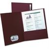 "Oxford Twin Pocket Folder - Letter - 8 1/2"" x 11"" Sheet Size - 2 Inside Front Pocket(s) - Linen - Burgundy - 5 / Pack"