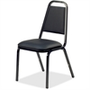 "Lorell 8926 Upholstered Stacking Chair - Vinyl Black Seat - Steel Black Frame - Charcoal Black - Vinyl, Steel - 18"" Width x 22"" Depth x 34.5"" Height"
