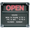"Quartet Black Open/Closed Sign - 1 Each - Open/Closed Print/Message - 14"" Width x 12"" Height - Orange Print/Message Color - Plastic - Black, White, Graphite"
