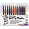 Pentel Sign Pen Porous Point Pen - Bold Point Type - Point Point Style - Assorted Water Based Ink - Black Barrel - 12 / Pack