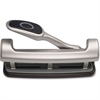 "OIC EZ Level 2-3 Hole Punch - 3 Punch Head(s) - 25 Sheet Capacity - 9/32"" Punch Size - Silver"