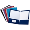 "Oxford Laminated Twin Pocket Folders - Letter - 8 1/2"" x 11"" Sheet Size - 100 Sheet Capacity - 2 Inside Front & Back Pocket(s) - Black, Blue, Gray, Navy, Purple, White, Red - 1 Each"