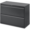 "Lorell Lateral File - 42"" x 18.6"" x 28.1"" - 2 x Drawer(s) - Legal, Letter, A4 - Lateral - Rust Proof, Leveling Glide, Interlocking, Ball-bearing Suspension - Charcoal - Baked Enamel - Recycled"