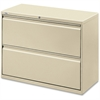 """Lorell Lateral File - 42"""" x 18.6"""" x 28.1"""" - 2 x Drawer(s) for File - Legal, Letter, A4 - Lateral - Rust Proof, Leveling Glide, Ball-bearing Suspension, Interlocking, Label Holder - Putty - Baked Ename"""