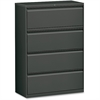 "Lorell Lateral File - 36"" x 18.6"" x 52.5"" - 4 x Drawer(s) - Legal, Letter, A4 - Lateral - Rust Proof, Leveling Glide, Interlocking - Charcoal - Baked Enamel - Steel - Recycled"