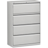 "Lorell Lateral File - 36"" x 18.6"" x 52.5"" - 4 x Drawer(s) for File - Legal, Letter, A4 - Lateral - Rust Proof, Leveling Glide, Interlocking, Ball-bearing Suspension, Label Holder - Light Gray - Baked"