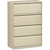 "Lateral File - 36"" x 18.6"" x 52.5"" - 4 x Drawer(s) for File - Legal, Letter, A4 - Lateral - Rust Proof, Leveling Glide, Interlocking, Ball-bearing Suspension, Label Holder - Putty - Baked Ename"