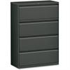 "Lorell Lateral File - 42"" x 18.6"" x 52.5"" - 4 x Drawer(s) - Legal, Letter, A4 - Lateral - Rust Proof, Leveling Glide, Interlocking, Reinforced, Hanging Rail - Charcoal - Baked Enamel - Recycled"