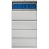 "Lorell Lateral File - 36"" x 18.6"" x 67.7"" - 5 x Drawer(s) for File - Legal, Letter, A4 - Lateral - Rust Proof, Leveling Glide, Interlocking, Ball-bearing Suspension, Label Holder - Light Gray - Baked"