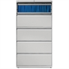 "Lorell Lateral File - 42"" x 18.6"" x 67.7"" - 5 x Drawer(s) for File - Legal, Letter, A4 - Lateral - Rust Proof, Leveling Glide, Interlocking, Ball-bearing Suspension, Label Holder - Light Gray - Recycl"