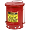 "Justrite Oily Waste Can - 6 gal Capacity - Round - 15.9"" Height x 11.9"" Diameter - Steel"
