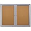 """Ghent 2-Door Enclosed Indoor Bulletin Board - 48"""" Height x 36"""" Width - Cork Surface - 1 Each"""