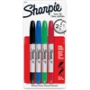 Sharpie Twin Tip Permant Maker - Fine, Extra Fine Point Type - 1 mm, 0.3 mm Point Size - Point Point Style - Black, Red, Blue, Green - 4 / Set