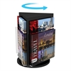 """Deflect-o Rotating Countertop Display 3-Sided Magazine Size - 3 Pocket(s) - 3 Compartment(s) - 13"""" Height x 10.3"""" Width - Clear, Black Pocket, Base - 1Each"""
