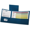 "Oxford Tri-Fold Pocket Folders - Letter - 8 1/2"" x 11"" Sheet Size - 150 Sheet Capacity - 3 Pocket(s) - Paper - Blue - 20 / Box"