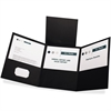 "Tri-Fold Pocket Folders - Letter - 8 1/2"" x 11"" Sheet Size - 150 Sheet Capacity - 3 Pocket(s) - Paper - Black - 20 / Box"