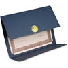 "St. James Elite Medallion Fold Certificate Holders with Gold Medallion - Letter - 8 1/2"" x 11"" Sheet Size - Linen - Navy - Recycled - 5 / Pack"