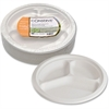 "Baumgartens Conserve Heavy-duty 3-Compartment Plate - 10.50"" Diameter Plate - White - 50 Piece(s) / Pack"