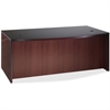 "Lorell D-Shaped Bowfront Desk - 72"" x 42"" x 29"" - Fluted Edge - Material: Hardwood - Finish: Mahogany, Veneer"