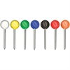 "Gem Office Products Spherical Head Map Tack - 0.18"" Head - 250 Pack - Assorted - Plastic, Steel"