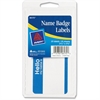 "Name Badge Label - Removable Adhesive - ""Hello My Name Is"" - 2.34"" Width x 3.38"" Length - 2 / Sheet - Rectangle - Laser, Inkjet - Blue - 25 / Pack"