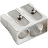 Baumgartens Pencil sharpener - Handheld - 2 Hole(s) - Metal - Silver