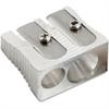 Baumgartens Pencil sharpener - Handheld - 2 Hole(s) - Metal - Silver