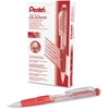 Pentel Twist-Erase Click Mechanical Pencil - #2, HB Lead Degree (Hardness) - 0.5 mm Lead Diameter - Refillable - Red, Transparent Barrel - 1 Each