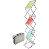 "Deflect-o Collapsible Literature Floor Stand - 6 Pocket(s) - 59"" Height x 10.9"" Width x 14.5"" Depth - Floor - Silver - 1Each"