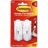 Command Medium Wire Hook - 2 Medium Hook - 3 lb (1.36 kg) Capacity - Plastic - White - 2 / Pack