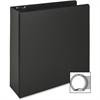 "Business Source Vinyl Ring Binder - 3"" Binder Capacity - Letter - 8 1/2"" x 11"" Sheet Size - 3 x Round Ring Fastener(s) - Inside Front & Back Pocket(s) - Vinyl - Black - Recycled - 1 Each"