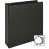 "Business Source Vinyl Ring Binder - 2"" Binder Capacity - Letter - 8 1/2"" x 11"" Sheet Size - 3 x Round Ring Fastener(s) - Inside Front & Back Pocket(s) - Vinyl - Black - Recycled - 1 Each"