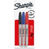 Sharpie Permanent Marker - Fine Point Type - Black, Blue, Red Alcohol Based Ink - 3 / Pack
