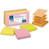 "Business Source Pop-up Adhesive Note - 3"" x 3"" - Square - Assorted - Removable, Repositionable, Solvent-free Adhesive - 12 / Pack"
