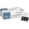 "Business Source Fold-back Binder Clips - Mini - 0.6"" Width - 0.25"" Size Capacity - 1Dozen - Black - Steel"