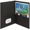 "Business Source Double Pocket Portfolio - Letter - 8 1/2"" x 11"" Sheet Size - 125 Sheet Capacity - 2 Inside Front & Back Pocket(s) - Paper - Black - Recycled - 25 / Box"