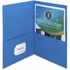 "Business Source Double Pocket Portfolio - Letter - 8 1/2"" x 11"" Sheet Size - 125 Sheet Capacity - 2 Inside Front & Back Pocket(s) - Paper - Blue - Recycled - 25 / Box"