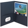 "Business Source Double Pocket Portfolio - Letter - 8 1/2"" x 11"" Sheet Size - 125 Sheet Capacity - 2 Inside Front & Back Pocket(s) - Paper - Dark Blue - Recycled - 25 / Box"