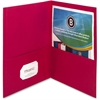 "Business Source Double Pocket Portfolio - Letter - 8 1/2"" x 11"" Sheet Size - 125 Sheet Capacity - 2 Inside Front & Back Pocket(s) - Paper - Red - 25 / Box"