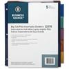 """Business Source Double Pocket Index Divider - 5 Print-on Tab(s) - 8.50"""" Divider Width x 11"""" Divider Length - Letter - Plastic Divider - Multicolor Tab(s) - 5 / Set"""