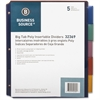 """Business Source Single Pocket Index Divider - 5 Print-on Tab(s) - 8.50"""" Divider Width x 11"""" Divider Length - Letter - Plastic Divider - Multicolor Tab(s) - 5 / Set"""